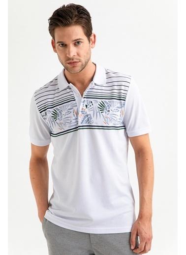 Avva Erkek  Polo Yaka Baskılı Tişört A01S1242 Beyaz